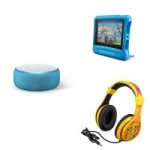 Echo Dot Kids Edition, Blue + Fire 7 Kids Edition Tablet, Blue + Lion King Headphones