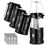 Etekcity 4 Pack Portable LED Camping Lantern Flashlight with 12 AA Batteries $19.49