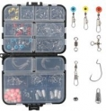 Amazon.com : RUNCL Fishing Terminal Tackle Fishing Tackle Box with Barrel Swivels Safety Snaps Off Set Hooks Weights Beads Swivel Slides $11.70