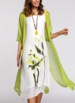 Floral Wrap 3/4 Sleeves Midi X-line Dress