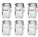 Mainstays: Set of 4 Melamine Round Divided Plates $6, Set of 6 Glass Clamp Jars