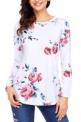 GOSOPIN Women Casual Floral Blouses Print Tee Shirt Long Sleeve Tunic Tops-$8.99