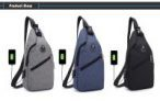 HUWAIJIANFENG 0112 USB Port Design Chest Bag – Dark Gray-56% OFF