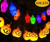 GIGALUMI Halloween Lights Decoration, 12ft 30LED(3D Orange Pumpkin,White Spooky Skull)
