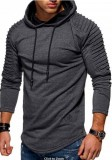 Solid Color Pleated Sleeve Long Fleece Hoodie-52% OFF