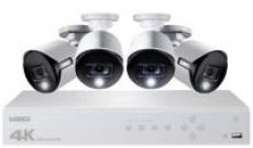 Lorex – 8-Channel, 4-Camera Indoor/Outdoor Wired 4K 2TB DVR Surveillance System – White