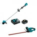Makita 18V LXT: 11-3/4″ String Trimmer Kit + 22″ Hedge Trimmer