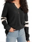 BLUETIME Women's Raglan Long Sleeve Button Down Knit Pullover