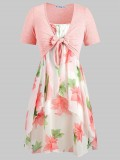 Plus Size Knot Top and Floral Cami Dress – $26.99