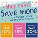 SPEND $100+ SAVE 15% ,SPEND $150+ SAVE 20%,SPEND $200+ SAVE 25%-@ Jojo Maman Bebe