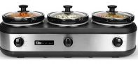 Elite Platinum 7.5Qt. Stainless Steel Triple Slow Cooker Buffet Server