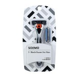 Solimo 3-Blade MotionSphere Razor for Men with Dual Lubrication, Handle & 2 Cartridges for $4.99