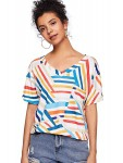 SOLY HUX Women's Short Sleeve V Neck Triple Color Block Striped Tee Shirts