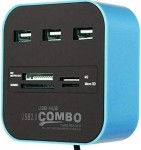 zhuygba USB Hub 2.0 Splitter,3 Port USB Data Hub Combo Card Reader
