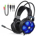 Stereo Gaming Headset for PS4, PC, Xbox One Slim, EasySMX Cool 2000 Over Ear Gaming Headphones with Noise Cancelling Mic, LED Light, Soft Memory Earmuffs for Laptop Mac Nintendo Switch Games