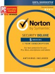Symantec Norton Security Deluxe – 5 Devices – 1 Year Subscription – Product Key Card – 2019 Ready
