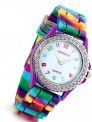 Lancardo Rhinestone Rainbow Color Silicon Jelly Fun Play Watches for Women Girls (3 color)