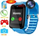 Kids Waterproof Smartwatch with GPS Tracker – Boys&Girls IP67 Waterproof Smart Watch Phone with Camera Games Sports Watches Back to School Supplies Grade Student Gifts (01 S7 Blue Waterproof Watch)-@Amazon
