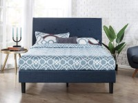 Zinus Omkaram Upholstered King Platform Bed Frame (Navy)