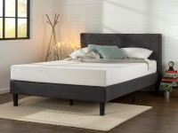 Zinus Shalini Upholstered Diamond Stitched Queen Platform Bed (Dark Grey)